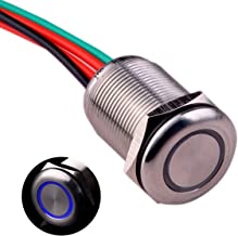Ulincos Touch Switch UT19T1 Stepless Dimming Switch DC 6V to 24V Blue LED Suitable for 19mm 3/4