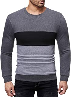 YFancy Men's Light Sweatshirt Casual Patchwork Long Sleeve Sports Shirts O Neck Autumn Pullover Slim Fit Basis Tee