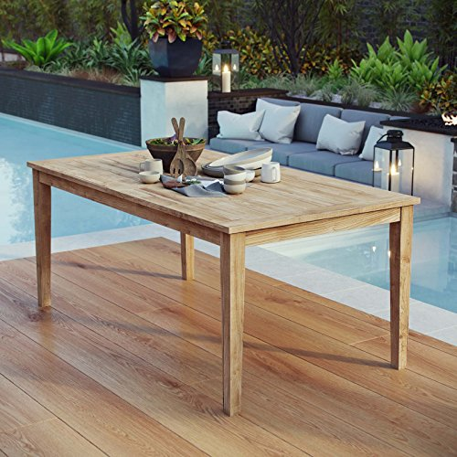 """Modway EEI-2717-NAT Marina 72"""" Premium Grade A Teak Wood Outdoor Patio Dining Table, Natural"""