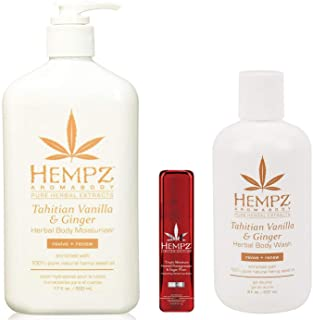Hempz Tahitian Vanilla & Ginger Herbal Body Moisturizer Lotion & Wash & Limited Edition Lip Balm Trio Set
