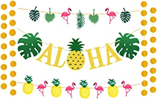 JOZON Hawaiian Aloha Party Decorations Gold Glittery Aloha Banner and Flamingo Garland for Hawaiian Luau Party Tropical Summer Pool Party Supplies Luau Party Supplies Favors