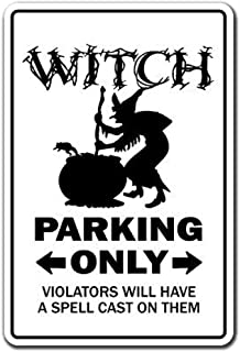 TGDB Personalized Witch Parking Sign Gag Novelty Gift Funny Broomstick Halloween Wife Girlfriend Ghost Aluminum Metal Tin Sign Plate Tin Sign