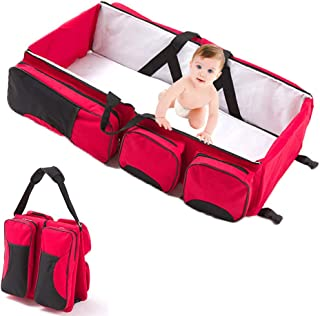 Multifunctional 3 in 1 Baby Changing Bags Travel Bassinet Bed Portable Foldable Bag Tote Bag Nappy Changing Bag Baby Crib Carrycot,Red