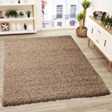 VIMODA Alfombra Prime Tipo Shaggy de Pelo Largo en Color marrón café, alfombras Modernas para el salón y el Dormitorio, Monocolor, Maße:70x140 cm