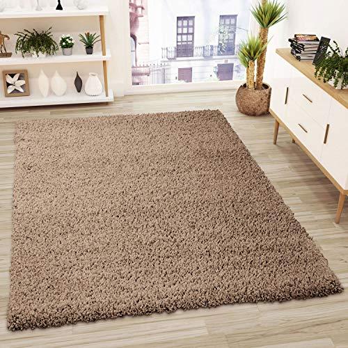 VIMODA Prime Shaggy Teppich Hochflor Langflor Teppiche Modern Einfarbig Nougat Hellbraun, Maße:160x220 cm