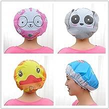 Wasserdichte Duschhaube mit Cartoon-Figuren, elastische Badekappe für Erwachsene und Kinder (4 Stück), Ente, Kaninchen, Elefant, Panda