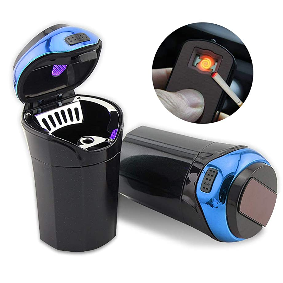 Big Ant Car Ashtray Detachable Car Cigarette Lighter Smokeless Ashtray with USB Charge, Blue LED Light Indicator for Most Car Cup Holder