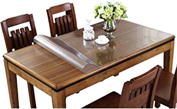 Eralove Rectangle 1.5mm & 2mm Thick Crystal Clear Table Top Protector Plastic Transparent PVC Tablecloth Kitchen Dining Ro...
