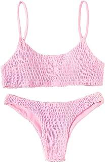 Verdusa Women's 2 Peices Bathing Suit Smocked Wireless Bikini Bandeau Top Thong Swimsuit