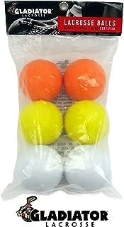 Gladiator Lacrosse Pack of 6 Official Lacrosse Balls – Multicolor – Meets NOCSAE Standards, SEI Certified