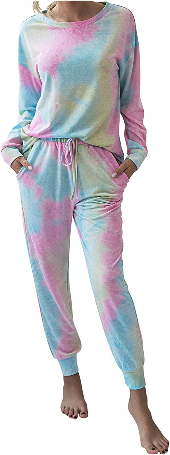 Women 2 Piece Tie Dye Sweatsuit O Neck Pullover and Drawstring Pockets Sweatpants Set Long Sleeve Jogging Suits