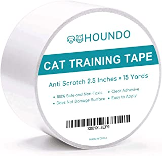 HOUNDO Anti-Scratch Cat Training Tape, Quickly Stop and Prevent Cat from Scratching Furniture, Couch, Carpet, Chair, Sofa, Rug, and Door, Cat Scratch Deterrent, Clear Adhesive Furniture Protector