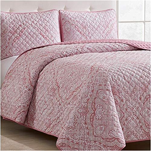 Mellanni Bedspread Coverlet Set Medallion Coral Comforter Bedding Cover Oversized 3 Piece Quilt product image