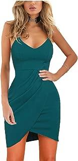 Women's Elegant Spaghetti Straps Deep V Neck Sleeveless Bodycon Party Dress