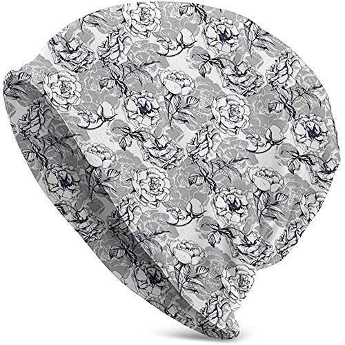 Unisex Hut Mütze Strick Hüte Schädelkappe, sprudelnde quadratische Schrift Illustration mit Party Items Hüte und Festliche Elemente