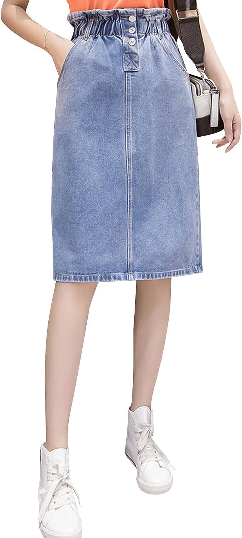 Ainangua Women's Juniors Pencil Denim Midi Hip Skirt Elastic High Waist Stretch Jean Skirt