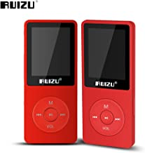 Fibest 2017 100% original English version Ultrathin MP3 Player with 8GB storage and 1.8 Inch Screen can play 80h, Original RUIZU X02 - Red