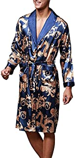 Mens Satin Robe Silk Long Sleeve Kimono Bathrobe Sleepwear Loungewear