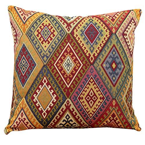 Linen Loft Vintage Kelim-Kissenbezug, quadratisch, 43 cm, klassischer türkischer Stil, gewebt, geometrisches Rautenmuster