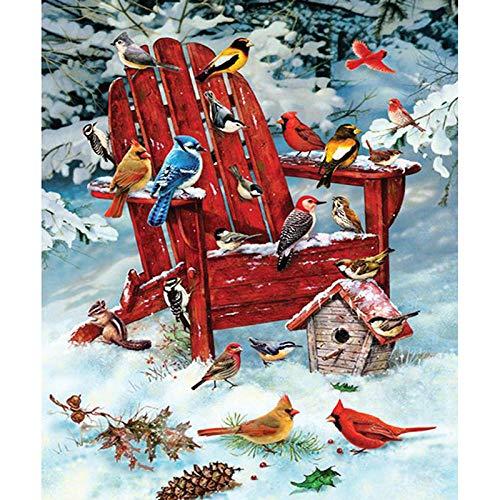 SJKVSHV Kit per 5D Pittura Diamante a Mosaico Fai da Te, Sedia per Uccelli Pittura con Numeri Diamante, Painting Completo con Strass Piena, per la Decorazione della Parete 40 x 50 cm