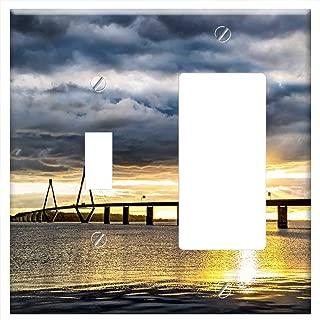 1-Toggle 1-Rocker/GFCI Combination Wall Plate Cover - Baltic Sea Bridge Denmark Sea Bridge Sunset