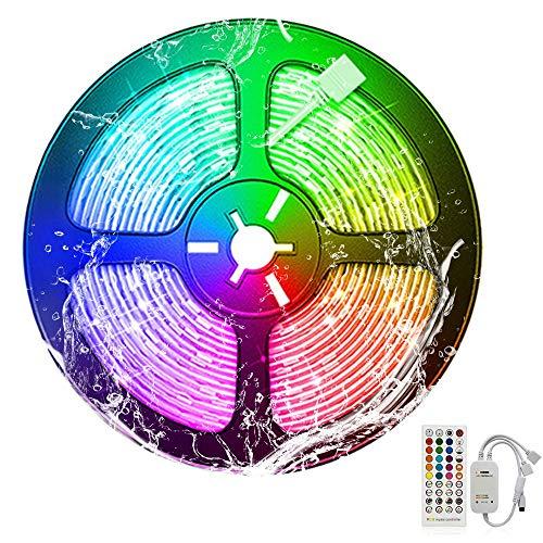 Basage Tira de Luces LED RGB 5M Impermeable 5050 SMD Tira de Luces LED para Armario de Cocina LáMpara de DecoracióN de TV para Fiestas