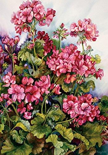 Toland Home Garden Rote Geranie Dekorative Bunte Frühling Sommer Blume Haus Flagge Rote Geranie Garden Flag (12.5