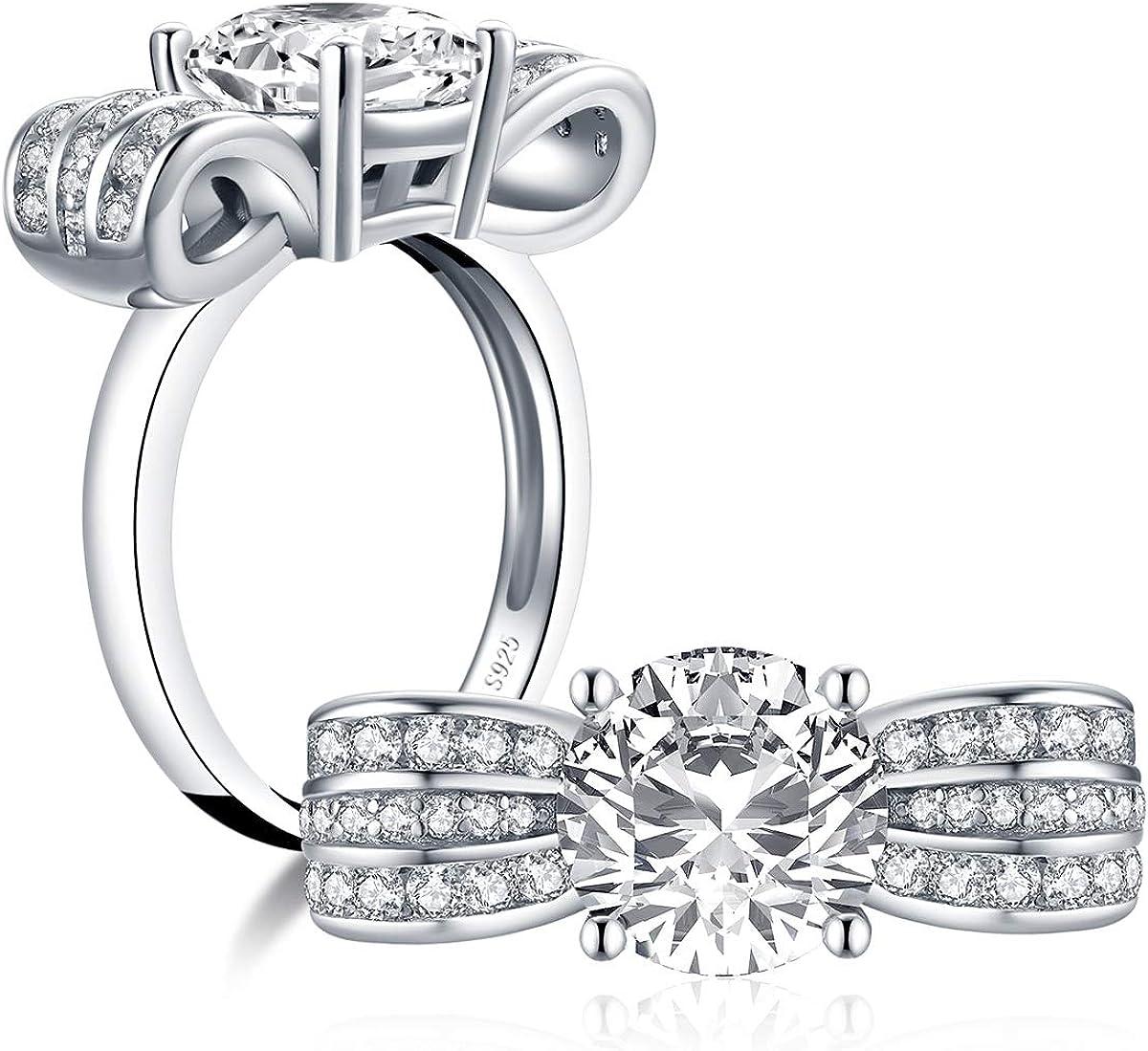 YUNNKAI 驚きの価格が実現 当店は最高な サービスを提供します 925 Sterling Silver Platinum Zirconia Cubic Plated Round