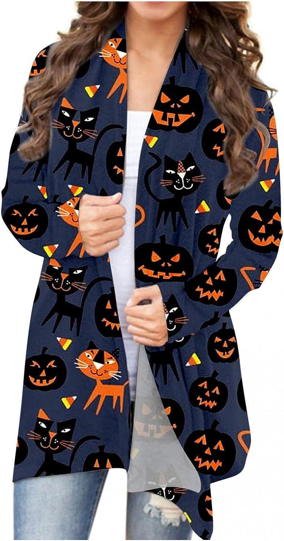Cardigan Sweaters for Women, Womens Sweater Halloween Long Sleeve Funny Pumpkin Open Front Black Cat Ghost Lightweight Coat