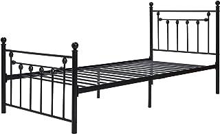 HAZYJT Cadre de lit en métal pour lit Simple, Cadre de lit en métal 90 * 200 cm avec Partie tête et Pied, lit pour Chambre...