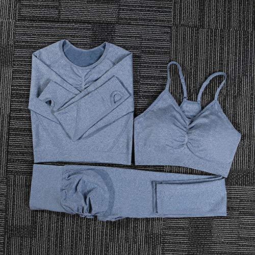 AAJIA,Ropa Deportiva,Women Seamless Yoga Set Fitness Sports Suits Gym Cloth Yoga Long Sleeve Shirts Sports Bra High Waist Running Leggings Workout,Blue 3pcs Set,S