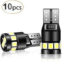 AGPTEK 10x T10 LED Bombillas 12 SMD 2835 LED CANBUS de 6000K W5W 168 194 y más Wedge Lampara para Coches de Interior y Exterior Xenón 12V, Luz Blanco
