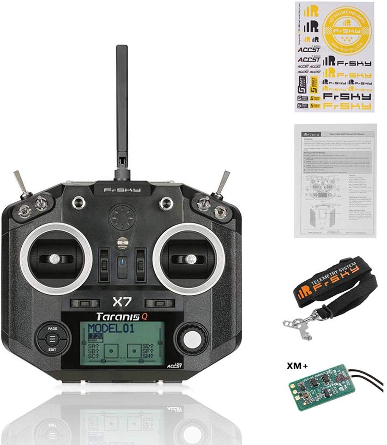 IBellete Radiocouomodo RC Trasmettitore, Frcielo Taranis Q X7 Transmitter 16CH ACCST 2.4GHz RC Transmitter Compatible con Frcielo Receiver per FPV Racing Drone Quadcopter
