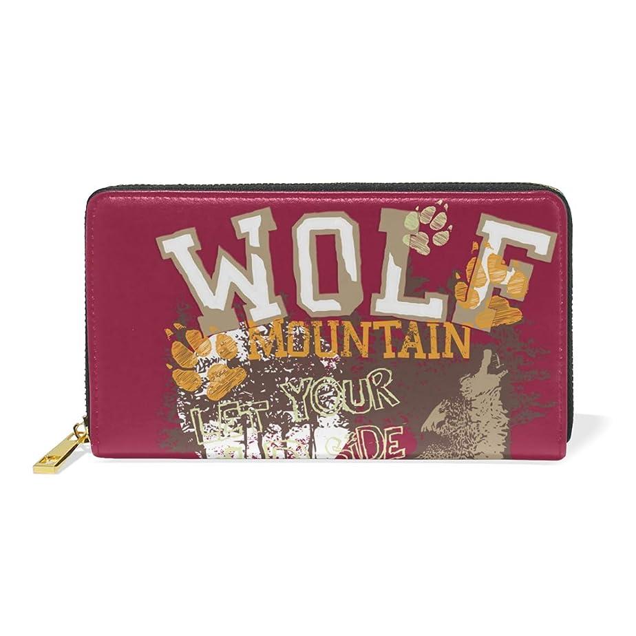 はがき副産物それらAyuStyle 長財布 財布 おおかみ オオカミ 狼 ウルフ カッコイイ 大容量 高品質 多機能 ラウンドファスナー ウォレット レディース メンズ レザー 二つ折り財布