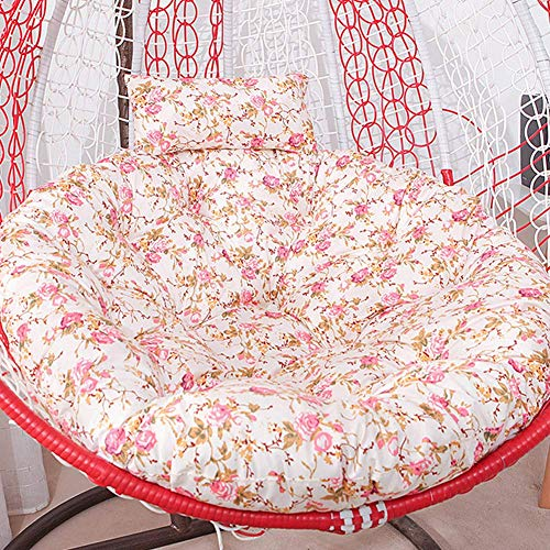 BYWHITE Quilting Hanging Egg Chair Pads Overstuffed Rattan Outdoor Garden Wicker Swing Chair Seat Cushion For Removable Rattan Patio Hanging Egg Chair Pads-110cm White crushed flowers