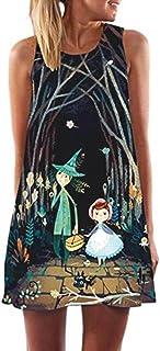 Vestidos Mujer Casual Verano Playa, Mujeres Sueltas Verano Vintage sin Mangas 3D Floral Print Bohemia Mini Vestido Corto