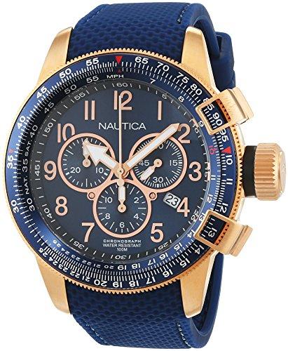 Nautica Reloj Cronógrafo de Cuarzo para Hombre con Correa de Cuero – NAI28500G