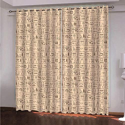 CLYDX Blickdichte Gardinen Verdunkelungsvorhang - Lichtundurchlässige Vorhang mit Ösen für Schlafzimmer Geräuschreduzierung 220x215 cm, 2Er Set - Hieroglyphe