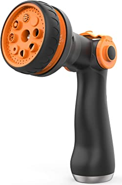 Waysonl Hose Nozzle Garden,Spray Nozzle High Pressure with 8 Adjustable Watering Patterns Thumb Control,Slip Resistant Heavy Duty Water Hose Nozzle for Garden Hose,Watering,Washing,Cleaning