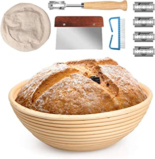 10 Inch Banneton Bread Proofing Basket Set with Dough Bowl, Stainless Steel Scraper, Bread Lame, Liner and Cleaning Brush - FIDECO Kitchen Bread Tools Dough Gifts for Professional & Home Bread Bakers