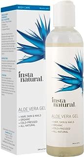 Aloe Vera Gel - Pure & Organic Moisturizing Treatment for Men & Women - For Sunburn, Breakouts, Razor Bumps & More Relief - Natural After Sun, Insect Bites & Scratches Skin Care - InstaNatural - 8 oz