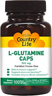 Country Life L-Glutamine Caps - 500 mg with Vitamin B6-100 Vegan Capsules - May Help Aid in Muscle Support - Promotes Immu...