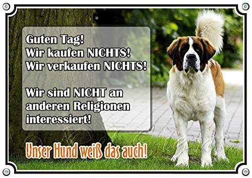 Petsigns Hundeschild - Bernhardiner - hochwertiges uv-beständiges Warnschild, DIN A5