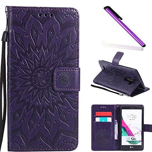 COTDINFOR LG G4 Coque Lucky Fleurs Fille Femme Élégant Portefeuille de Carte de Crédit Magnétique Flip PU Étui Cuir Protéger Housse pour LG G4 Sunflower Purple KT