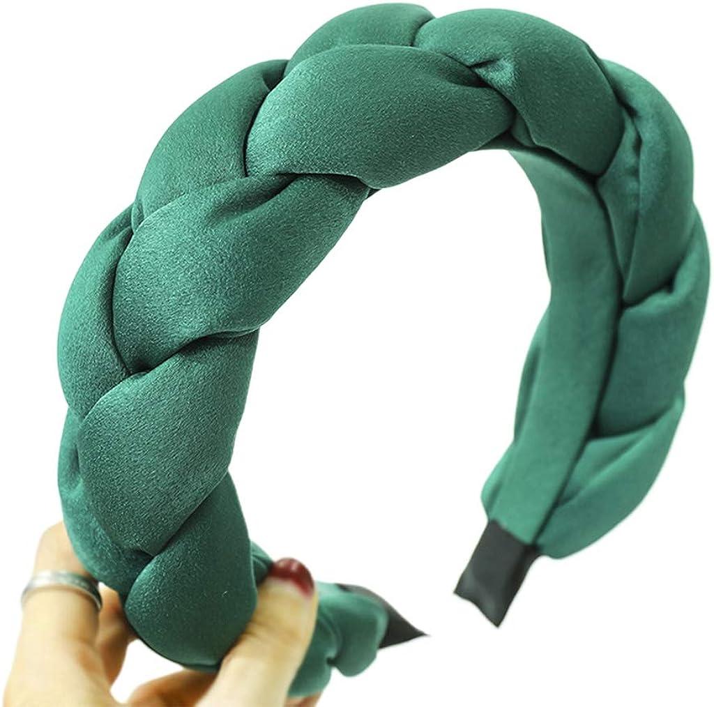 Beerty Women Handmade Braided Thicken Sponge Padded Stretch Wide Headband Ladies Velvet Bright Solid Color Imitation Silk Hair Hoop