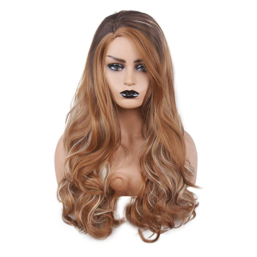 NOGOQU Mixed Dark Brown and Brown and Blonde Highlight Long Curly Wig side part Heat Resistant Synthetic natural soft durable cosplay & daily use for Women for 2019 27.5 Inch nt.wt.260g + adjustable c