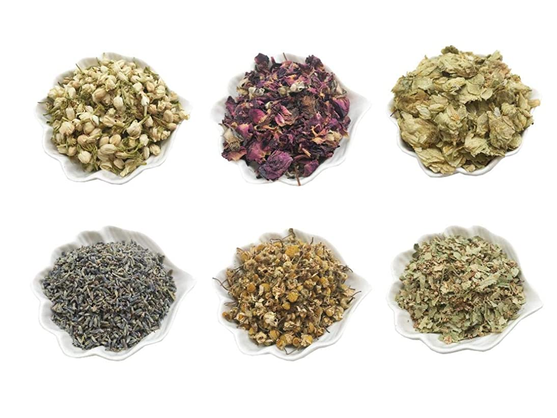 PEPPERLONELY Kosher Certified Botanical Dried Edible Flowers Lavender, Rose Buds & Petals, Jasmine, Chamomile, Hop Flowers for Herb Tea, Soap Making, and Bath Bombs