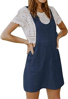 6bc7046c5e Women Summer Casual Sleeveless Braces Cotton Linen Dungarees Pinafore Mini  Dress