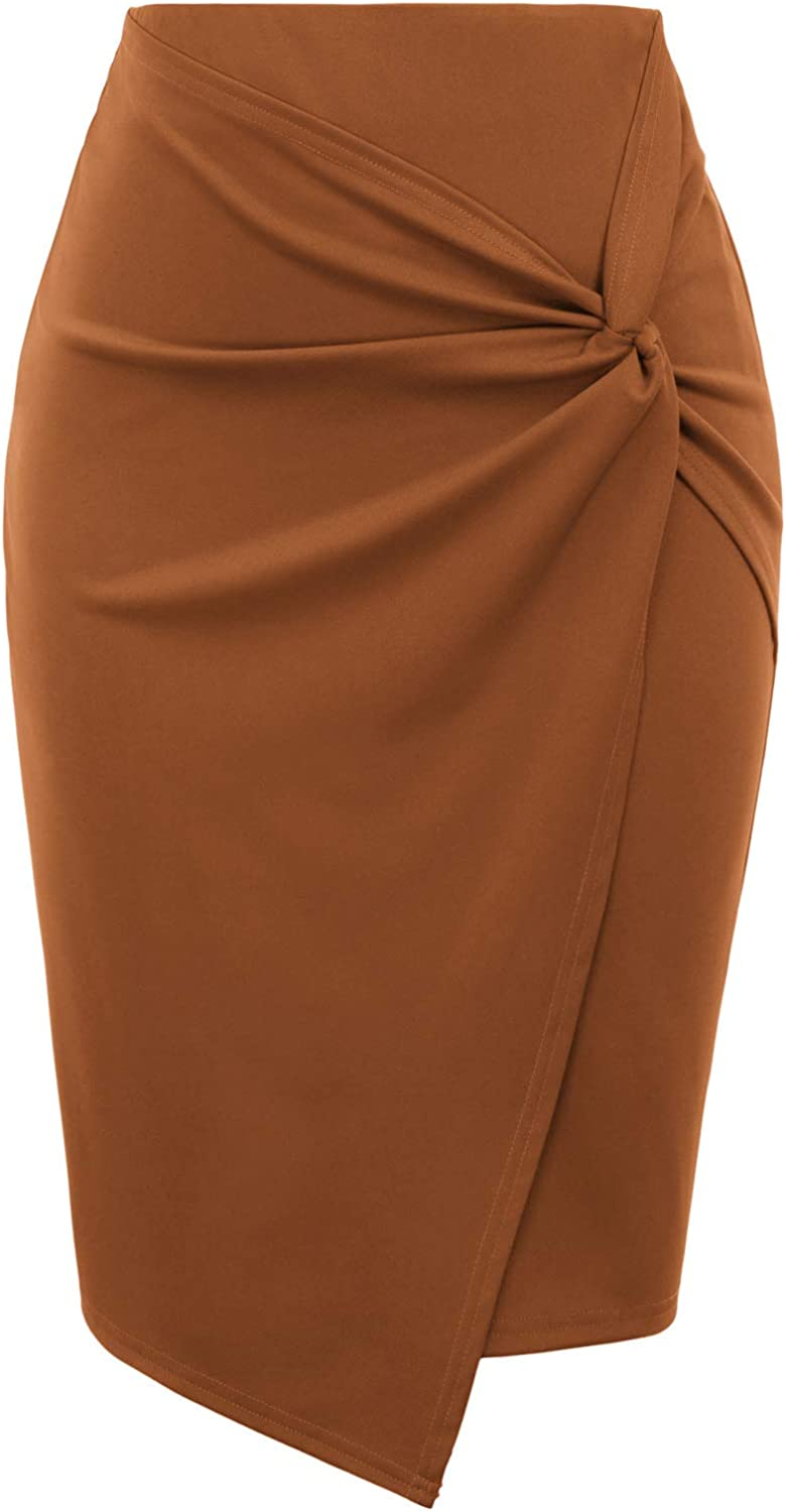 Kate Kasin Wear to Work Limited time sale Pencil Elastic High for Wai Gifts Skirts Women