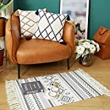 Abreeze Cotton Boho Rugs Decorative Black and White Bohemian Kilim Rug Hand Woven Accent Floor Mat for Bathroom Bedroom, 23.6' x 51.2'